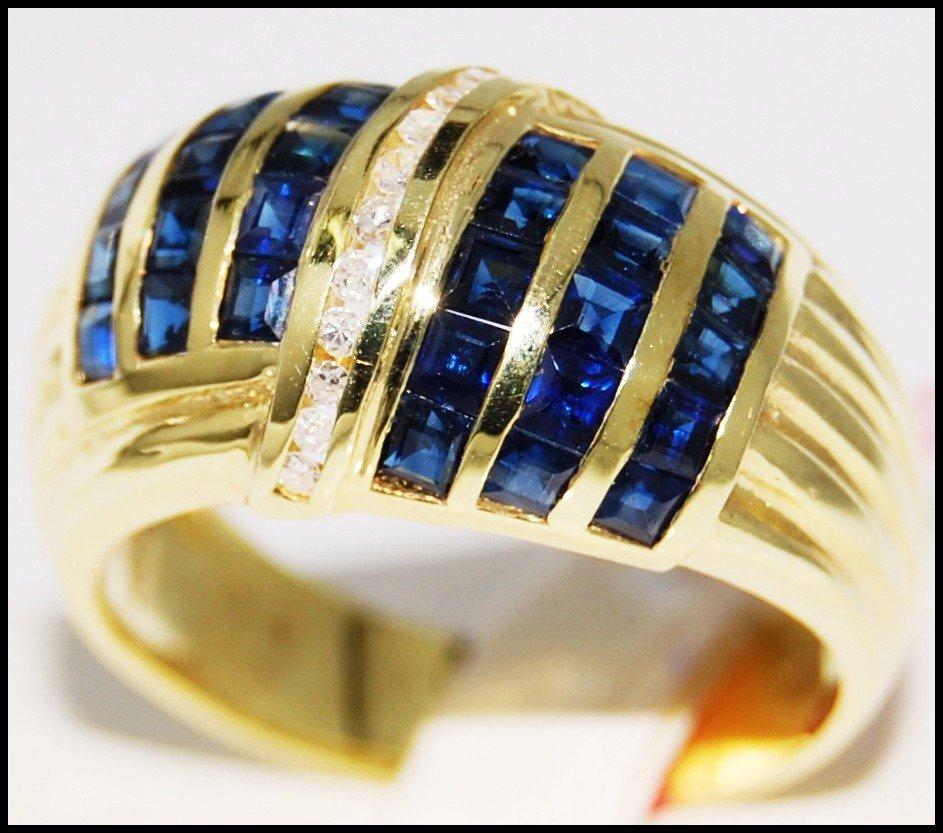 Gemstone Blue Sapphire Jewelry Diamond 14K Yellow Gold Ring [RR030]