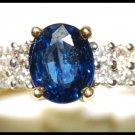Diamond Unique Solitaire Blue Sapphire 18K Yellow Gold Ring [R0130]