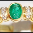 Genuine Diamond 18K Yellow Gold Solitaire Emerald Ring [R0089]