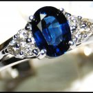 18K White Gold Solitaire Unique Diamond Blue Sapphire Ring [RS0013]