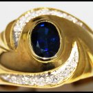 Wedding Blue Sapphire Diamond Gemstone Ring 14K Yellow Gold [RR077]