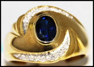 Wedding Blue Sapphire Diamond Gemstone Ring 14K Yellow Gold [RR077]