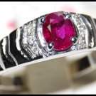 18K White Gold Oval Ruby and Diamond Jewelry Ring [RS0021]