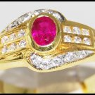 Natural Diamond Ruby 18K Yellow Gold Solitaire Ring [R0110]