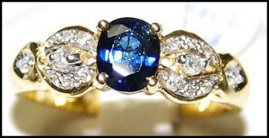 18K Yellow Gold Natural Solitaire Diamond Blue Sapphire Ring [RS0130]
