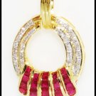 Gemstone Diamond Natural Ruby Pendant 18K Yellow Gold [P0073]
