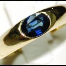 Unique Solitaire Blue Sapphire 18K Yellow Gold Gemstone Ring [RS0014]