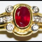Solitaire Ruby Natural 18K Yellow Gold Diamond Ring [RS0170]