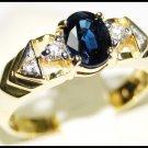 Unique Blue Sapphire Solitaire Diamond 18K Yellow Gold Ring [RS0102]