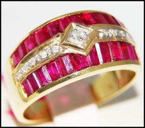 Genuine Diamond 14K Yellow Gold Gemstone Ruby Ring [RR073]