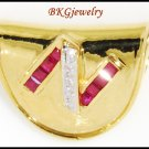 Design'N' Natural Ruby Diamond Pendant 18K Yellow Gold [P0086]
