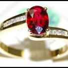 18K Yellow Gold Ruby Diamond Solitaire Eternity Ring [RS0106]