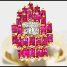For Men Red Ruby and Diamond Unique 18K Yellow Gold Ring [R0068]