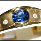 Genuine Diamond Solitaire Blue Sapphire Ring 18K Yellow Gold [RS0112]
