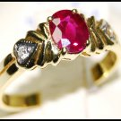 Ruby Solitaire Wedding Diamond Ring 18K Yellow Gold [RS0089]