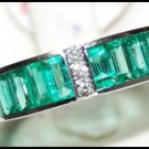 18K White Gold Gemstone Natural Diamond Emerald Ring [RQ0013]