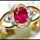 Natural Ruby Diamond 18K Yellow Gold Solitaire Ring [R0100]