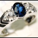 Solitaire 18K White Gold Eternity Blue Sapphire Diamond Ring [RS0102]