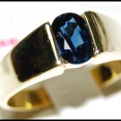 Gemstone Blue Sapphire Solitaire Unique Ring 18K Yellow Gold [RS0069]