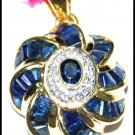 14K Yellow Gold Jewelry Blue Sapphire Diamond Pendant [P_159]