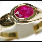 Solitaire Oval Red Ruby 18K Yellow Gold Genuine Ring [RS0070]