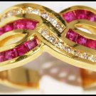 18K Yellow Gold Unique Ruby and Wedding Diamond Ring [R0077]