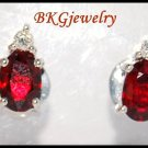 Diamond Stud Gemstone Jewelry 18K White Gold Ruby Earrings [E0027]