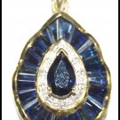 Diamond Jewelry 18K Yellow Gold Blue Sapphire Pendant [P0130]