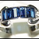 18K White Gold Wedding Diamond Gemstone Blue Sapphire Ring [RQ0043]