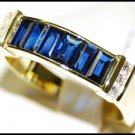 18K Yellow Gold Diamond For Men Blue Sapphire Genuine Ring [RQ0044]