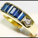 Diamond 18K Yellow Gold For Men Eternity Blue Sapphire Ring [RQ0008]