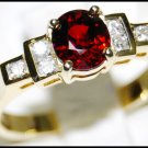 18K Yellow Gold Eternity Diamond Solitaire Ruby Ring [RS0084]
