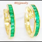 Gemstone Emerald Jewelry 18K Yellow Gold Huggie Earrings [EL0009]