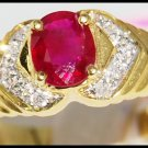 18K Yellow Gold Diamond and Oval Ruby Solitaire Ring [R0087]