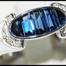 18K White Gold Gemstone Unique Diamond Blue Sapphire Ring [RQ0018]