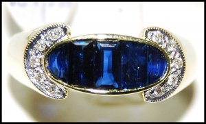 18K Yellow Gold Diamond For Men Genuine Blue Sapphire Ring [RQ0018]