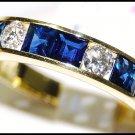 Blue Sapphire Eternity 18K Yellow Gold Diamond Band Ring [RQ0003]