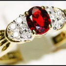 Ruby Solitaire Diamond Wedding Ring 18K Yellow Gold [RS0087]
