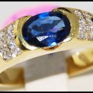 Diamond Solitaire Unique Blue Sapphire 18K Yellow Gold Ring [R0108]