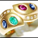 Diamond Jewelry 18K Yellow Gold Genuine Multi Gemstone Ring [R0014]