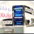 Diamond 18K White Gold Gemstone Genuine Blue Sapphire Ring [RQ0038]