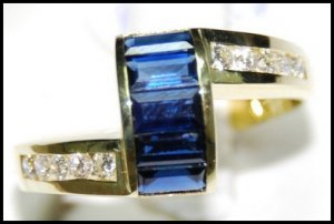 18K Yellow Gold For Men Blue Sapphire Eternity Diamond Ring [RQ0038]