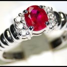 18K White Gold Ruby and Diamond Solitaire Ring [RS0041]