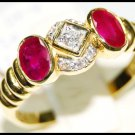 Couple Ruby and Diamond Unique 18K Yellow Gold Ring [RS0078]