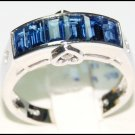 Gemstone Diamond 18K White Gold Unique Blue Sapphire Ring [RQ0030]