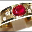 Diamond Solitaire Eternity Ruby Ring 18K Yellow Gold [RS0112]