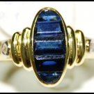 Genuine 18K Yellow Gold Diamond For Men Blue Sapphire Ring [RQ0039]