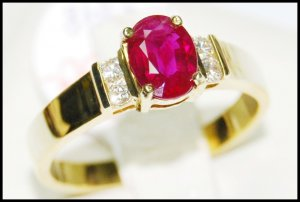 Solitaire Genuine Ruby 18K Yellow Gold Diamond Ring [RS0018]