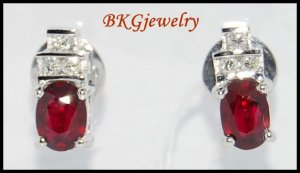 Stud Gemstone Genuine Diamond 18K White Gold Ruby Earrings [E0031]