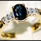 Solitaire Blue Sapphire Genuine Diamond 18K Yellow Gold Ring [RS0025]